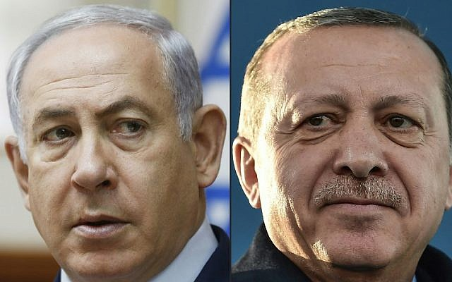 Prime Minister Benjamin Netanyahu, left, and Turkish President Recep Tayyip Erdogan seen in a combination of photos created on April 1, 2018. (RONEN ZVULUN AND OZAN KOSE/AFP)