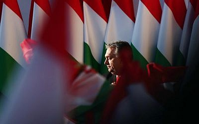 Hungarian Prime Minister Viktor Orban delivers his speech during the last campaign event of his Fidesz party in Szekesfehervar, Hungary, on April 6, 2018 (AFP PHOTO / FERENC ISZA)