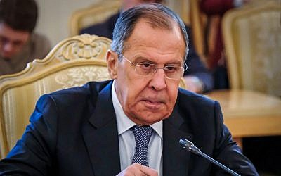 Russian Foreign Minister Sergei Lavrov speaks with his Tajik counterpart (not pictured) during their meeting in Moscow on April 9, 2018. (AFP Photo/Yuri Kadobnov)