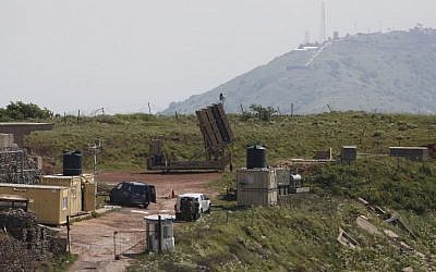 A picture taken on April 9, 2018 shows an Iron Dome missile defense battery, designed to intercept and destroy incoming short-range rockets and artillery shells, deployed on the Golan Heights near the border with Syria. (Jalaa Marey/AFP)