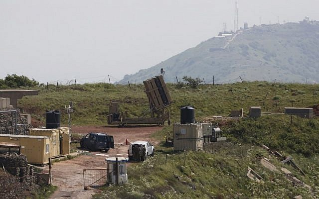 A picture taken on April 9, 2018, shows an Iron Dome missile defense battery, designed to intercept and destroy incoming short-range rockets and artillery shells, deployed on the Golan Heights near the border with Syria. (Jalaa Marey/AFP)