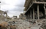 Illustrative: Destruction in the former rebel-held town of Saqba in the Eastern Ghouta region on the outskirts of the Syrian capital Damascus on April 10, 2018. (AFP Photo/Stringer)
