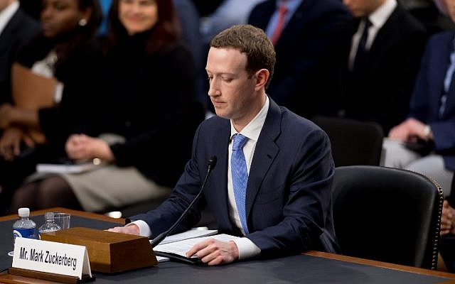 Facebook CEO Mark Zuckerberg testifies during a joint hearing of the Senate Commerce, Science and Transportation Committee and Senate Judiciary Committee on Capitol Hill April 10, 2018 in Washington, DC. (AFP / SAUL LOEB)