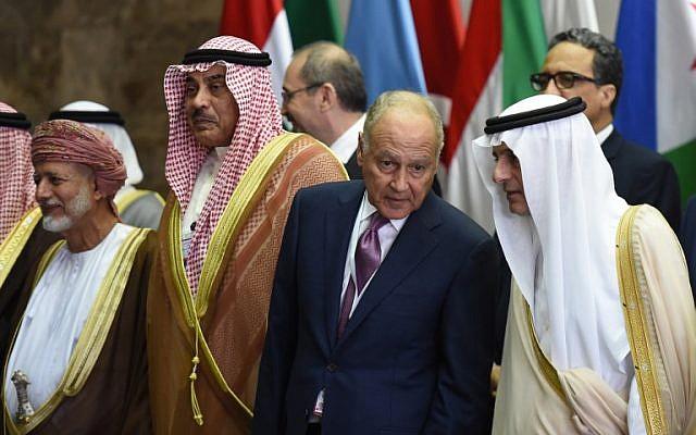 (L to R) Oman's Foreign Minister Yussef bin Alawi, Kuwait Foreign Minister Sheikh Sabah Khaled al-Sabah, Arab League Secretary-General Ahmed Abul Gheit and Saudi Arabia's Foreign Minister Adel al-Jubeir attend the preparatory meeting ahead of the 28th Summit of the Arab League in Riyadh on April 12, 2018. (AFP/Fayez Nureldine)