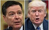 These two file photos show then FBI director James Comey (L) in Washington, DC, on March 20, 2017; and US President Donald Trump in Washington, DC, on June 6, 2017. (AFP Photo/Nicholas Kamm and Nicholas Kamm)