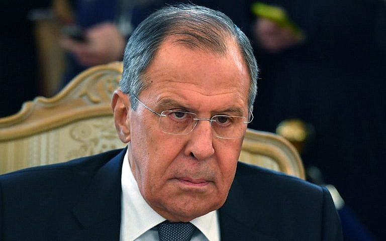 Russian Foreign Minister Sergey Lavrov attends a meeting with his Dutch counterpart in Moscow