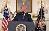 US President Donald Trump addresses the nation on the situation in Syria April 13, 2018 at the White House in Washington, DC. Trump said strikes on Syria are under way.  (AFP PHOTO / Mandel NGAN)