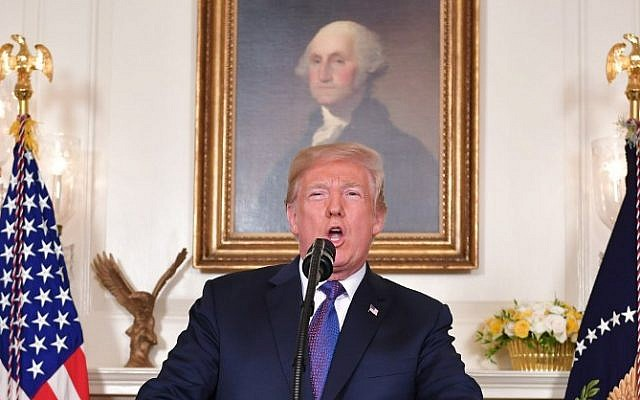 US President Donald Trump addresses the nation on the situation in Syria April 13, 2018 at the White House in Washington, DC. (AFP PHOTO / Mandel NGAN)
