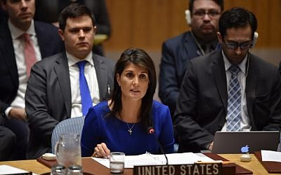 US Ambassador to the UN Nikki Haley speaks during UN Security Council meeting, at United Nations Headquarters in New York, on April 14, 2018. (AFP/ HECTOR RETAMAL)