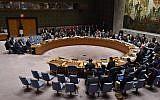 The UN Security Council meets on April 14, 2018, at UN Headquarters in New York. (AFP/Hector Retamal)