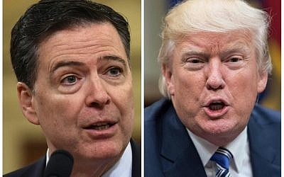 These two photos show FBI Director James Comey (L) in Washington, DC, on March 20, 2017; and US President Donald Trump in Washington, DC, on June 6, 2017.  (AFP PHOTO / NICHOLAS KAMM AND Nicholas Kamm)