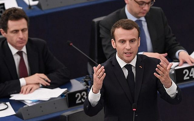 French President Emmanuel Macron speaks before the European Parliament on April 17, 2018, in the eastern French city of Strasbourg. (AFP PHOTO / Frederick FLORIN)