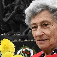 Warsaw Ghetto Holocaust survivor, Krystyna Budnicka poses on April 16, 2018 in front of the Monument to the Ghetto Heroes in Warsaw. (AFP PHOTO/JANEK SKARZYNSKI)