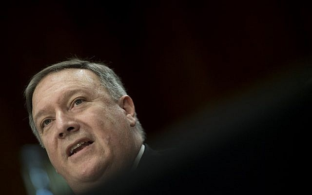 US Secretary of State nominee Mike Pompeo testifies before the Senate Foreign Relations Committee during his confirmation hearing on Capitol Hill in Washington, DC, April 12, 2018 . (Jim Watson/AFP)
