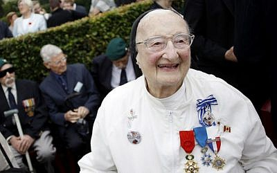 In this file photo taken on August 19, 2012 sister and former nurse Marie-Agnes Valois takes part in the 70th anniversary ceremony of the Dieppe Raid in Dieppe, northwestern France, in memory of the Second World War Allied attack on the German-occupied port of Dieppe on August 19, 1942. (AFP PHOTO / CHARLY TRIBALLEAU)