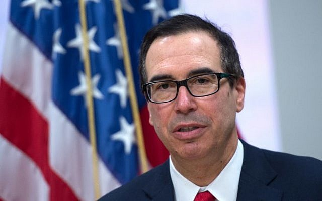 US Treasury Secretary Steve Mnuchin holds a press conference during the IMF/World Bank spring meeting in Washington, DC on April 21, 2018. (AFP PHOTO / ANDREW CABALLERO-REYNOLDS)