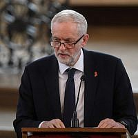 Britain's opposition Labour Party leader Jeremy Corbyn speaks during a memorial service at St Martin-in-the-Fields in Trafalgar Square in London, on April 23, 2018, to commemorate the 25th anniversary of the murder of Stephen Lawrence. (AFP PHOTO / POOL / Victoria Jones)