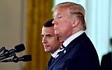 US President Donald Trump and French President Emmanuel Macron hold a joint press conference at the White House in Washington, DC, on April 24, 2018. (AFP Photo/Nicholas Kamm)