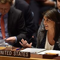 In this photo taken on April 13, 2018 US ambassador to the United Nations, Nikki Haley speaks during a UN Security Council meeting, at United Nations Headquarters in New York. (AFP PHOTO / HECTOR RETAMAL)