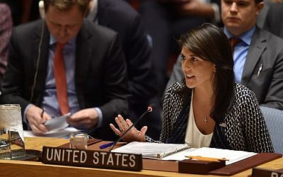 File: In this photo taken on April 13, 2018, US ambassador to the United Nations Nikki Haley speaks during a UN Security Council meeting at UN Headquarters in New York. (AFP Photo/Hector Retamal)