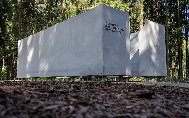 An information space which is part of the memorial site is pictured prior to the inauguration of the Muehldorfer Hart camp memorial site near Waldkraiburg, southern Germany, on April 27, 2018. (AFP/dpa/Matthias Balk)