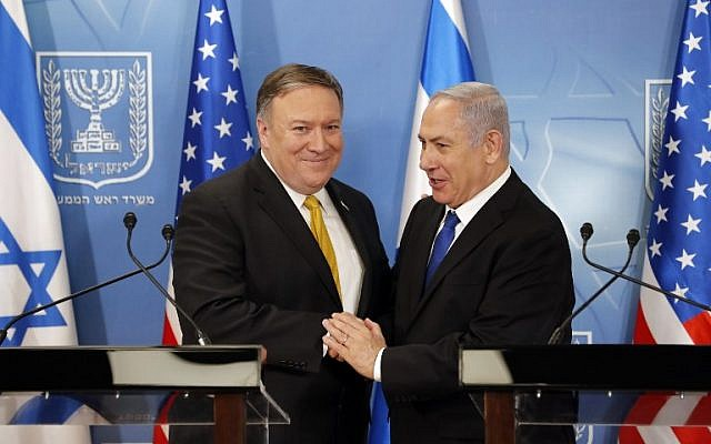US Secretary of State Mike Pompeo (L) is greeted by Prime Minister Benjamin Netanyahu ahead of a press conference at the Defense Ministry in Tel Aviv on April 29, 2018. (AFP Photo/Thomas Coex)