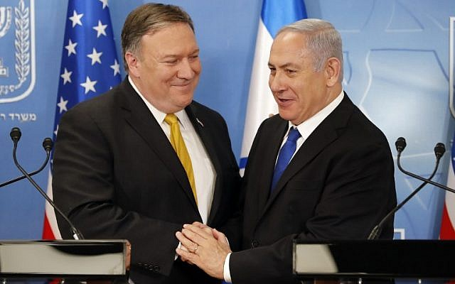 US Secretary of State Mike Pompeo (L) is seen with Prime Minister Benjamin Netanyahu ahead of a press conference at the Defense Ministry in Tel Aviv on April 29, 2018. (AFP Photo/Thomas Coex)