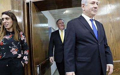 US Secretary of State Mike Pompeo (C) and Israeli Prime Minister Benjamin Netanyahu (R) arrive for a joint press conference at the Defense Ministry in Tel Aviv on April 29, 2018. (AFP PHOTO / Thomas COEX)