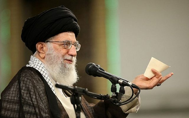 Ayatollah Ali Khamenei delivers a speech during Labor Day at a workers' meeting, April 30, 2018. (AFP Photo/Iranian Supreme Leader's Website /HO)