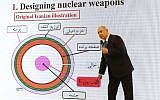 Prime Minister Benjamin Netanyahu gives a speech on files obtained by Israel he says proves Iran lied about its nuclear program, at the Defense Ministry in Tel Aviv, on April 30, 2018. (AFP Photo/Jack Guez)