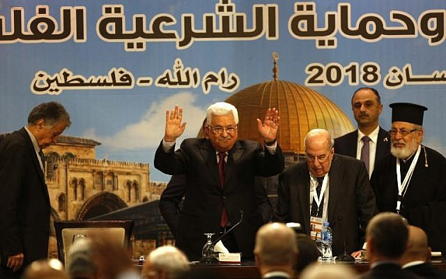 Palestinian Authority President Mahmoud Abbas gestures during the Palestinian National Council meeting in Ramallah on April 30, 2018. (AFP Photo/Abbas Momani)