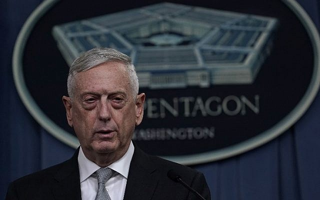 US Defense Secretary Jim Mattis briefs members of the media on Syria at the Pentagon April 13, 2018 in Arlington, Virginia. President Donald Trump has ordered a joint force strike on Syria with Britain and France over the recent suspected chemical attack by Syrian President Bashar al-Assad.   (Alex Wong/Getty Images/AFP)