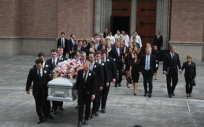 The remains of former first lady Barbara Bush are carried from St. Martin's Episcopal Church following her funeral service on April 21, 2018 in Houston, Texas. Bush, wife of former president George H. W. Bush and mother of former president George W. Bush, died at her home in Houston on April 17 at the age of 92.   (Scott Olson/Getty Images/AFP)