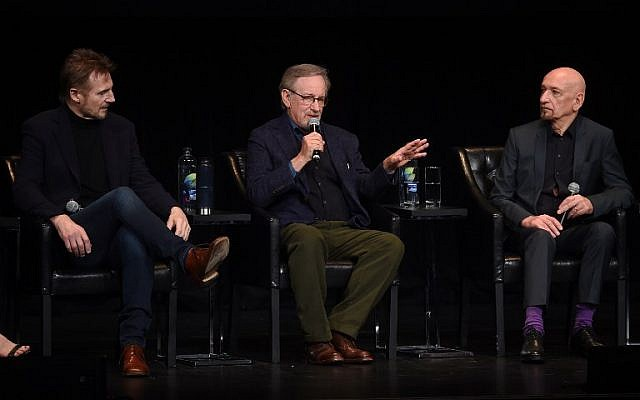 Liam Neeson, Steven Spielberg and Ben Kingsley speak onstage at the 'Schindler's List' cast reunion during the 2018 Tribeca Film Festival in New York City on April 26, 2018. (Jamie McCarthy/Getty Images for Tribeca Film Festival/AFP)