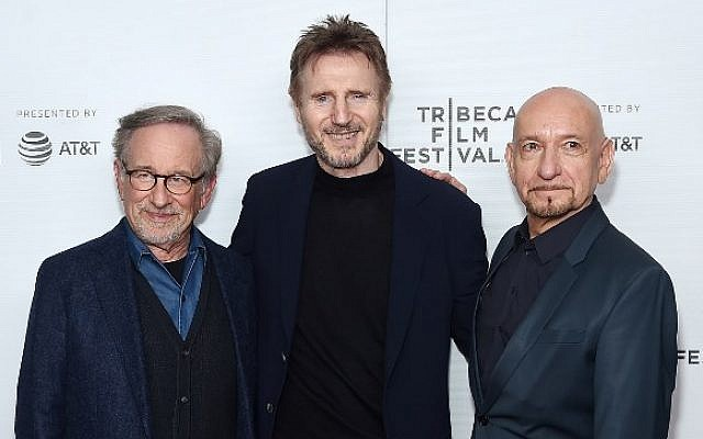 Steven Spielberg, Liam Neeson and Ben Kingsley (L-R) attend the 'Schindler's List' cast reunion during the 2018 Tribeca Film Festival at The Beacon Theatre on April 26, 2018 in New York City. Jamie McCarthy/Getty Images for Tribeca Film Festival/AFP)