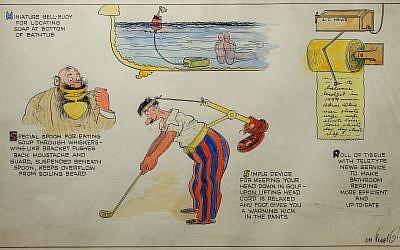 A cartoon by Rube Goldberg, 'Inventions,' circa 1938-1941. (Courtesy Contemporary Jewish Museum)
