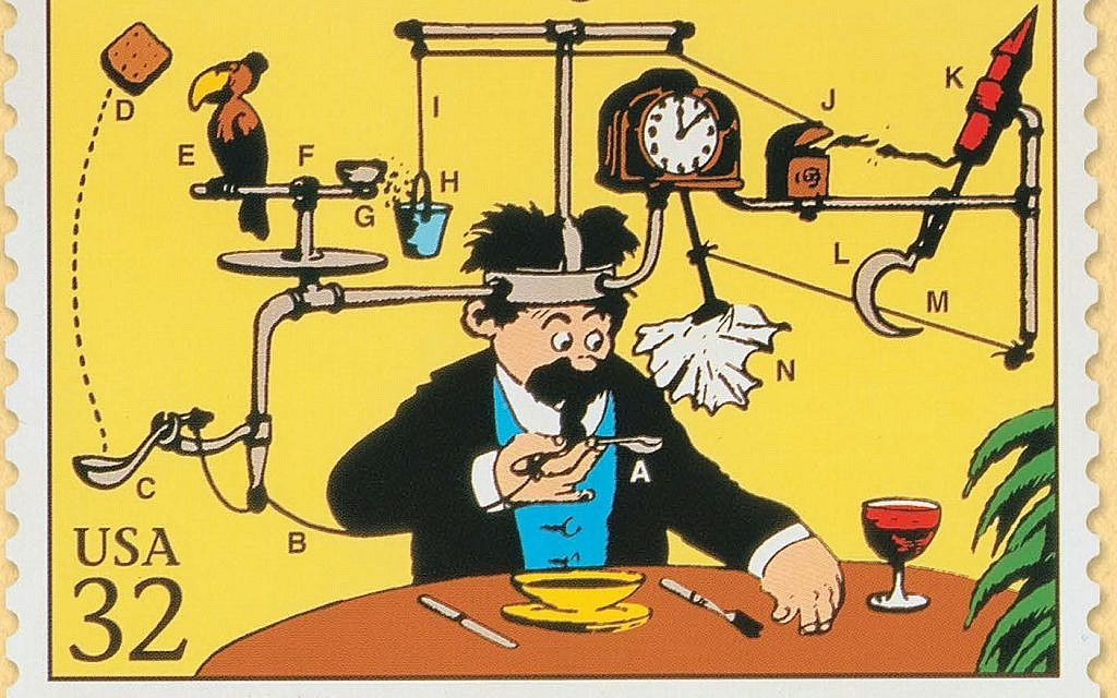 Image result for soup to nuts rube goldberg
