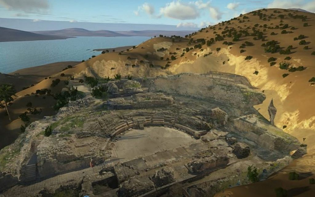 An advanced three-dimensional photograph of the amphitheater in Tiberias as it appears on the Sanhedrin Trail's interactive site. (Yaʽakov Shmidov, Israel Antiquities Authority)