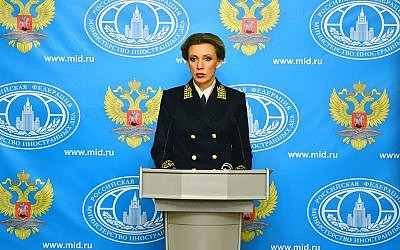 Russian Foreign Ministry spokeswoman Maria Zakharova leading a briefing