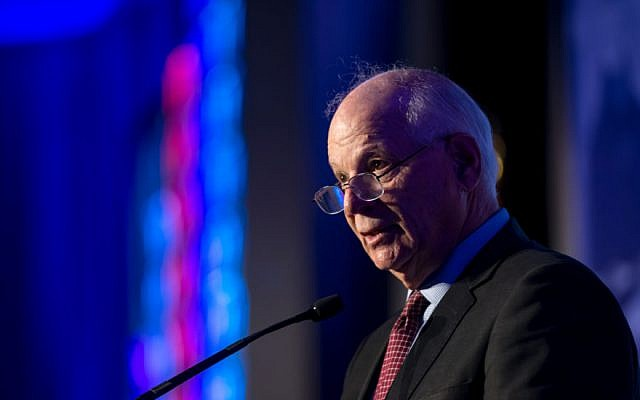 US Senator Ben Cardin speaks April 16 2018 at J Street's conference in Washington DC. (courtesy, J Street)
