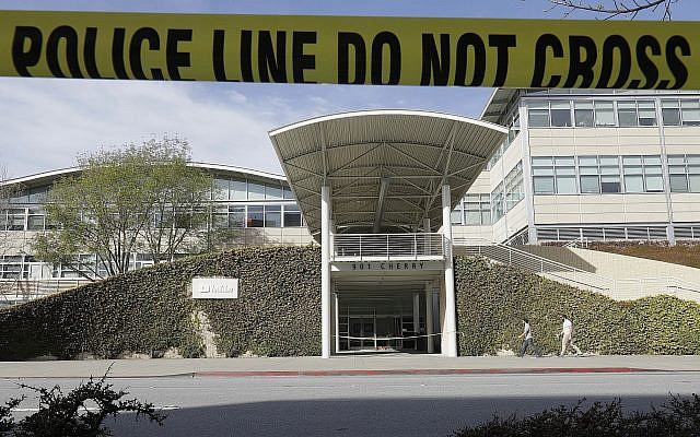Police tape is shown outside of a YouTube office building in San Bruno, Calif., Wednesday, April 4, 2018. (AP/Jeff Chiu)