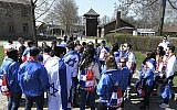 A group of Panama youth visit the former Nazi death camp of Auschwitz ahead of the yearly March of the Living, a Holocaust remembrance march, in Oswiecim, Poland on April 12, 2018. (AP Photo/Czarek Sokolowski)