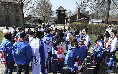 Illustrative image of a group of Panama youth visiting the former Nazi death camp of Auschwitz ahead of the yearly March of the Living, a Holocaust remembrance march, in Oswiecim, Poland on April 12, 2018. (AP Photo/Czarek Sokolowski)