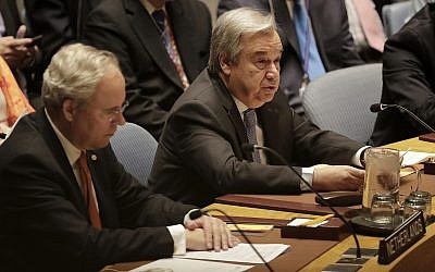 Antonio Guterres, right, Secretary-General of the United Nations, speaks during a Security Council meeting on April 13, 2018, at United Nations headquarters. (AP Photo/Julie Jacobson)