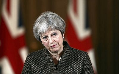Britain's Prime Minister Theresa May during a press conference in 10 Downing Street, London, Saturday, April 14, 2018. (Simon Dawson/Pool Photo via AP)
