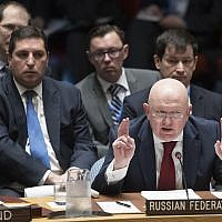 Russian Ambassador to the United Nations Vassily Nebenzia speaks during a Security Council meeting on the situation in Syria, Saturday, April 14, 2018 at United Nations headquarters. (AP/Mary Altaffer)