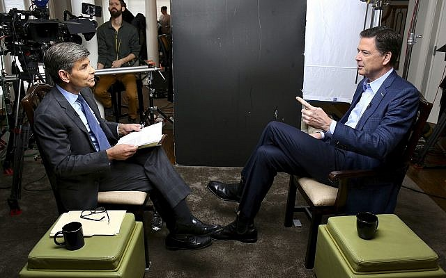"Correspondent George Stephanopoulos, left, appears with former FBI director James Comey, for a taped interview that was due to air during a prime time ""20/20"" special on April 15, 2018, on the ABC Television Network. (Ralph Alswang/ABC via AP)"