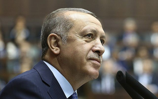 Turkey's President Recep Tayyip Erdogan, delivers a speech at his ruling Justice and Development (AKP) Party weekly meeting in Ankara, Turkey, Tuesday, April 17, 2018. (Kayhan Ozer/Pool Photo via AP)