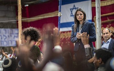 Justice Minister Ayelet Shaked speaks to members of Ethiopia's Jewish community, during a visit to a synagogue in Addis Ababa, Ethiopia, on April 22, 2018.  (AP Photo/Mulugeta Ayene)