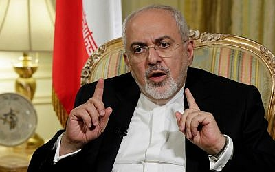 Iran's Foreign Minister Mohammad Javad Zarif is interviewed by The Associated Press, in New York, Tuesday, April 24, 2018. (AP Photo/Richard Drew)